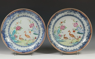 China, pair of famille pink deep plates, 18th...