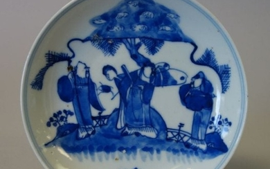 Chinese Blue & White Porcelain Figures Dish, Qing