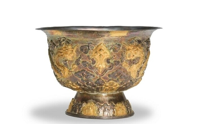 Chinese Export Gilt Silver Dragon Bowl, 19th Century