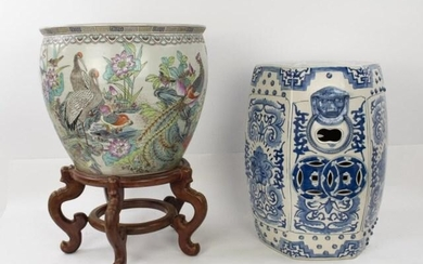 Chinese Porcelain Fish Bowl & Garden Seat