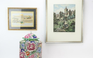 Chinese Prints and Covered Jar