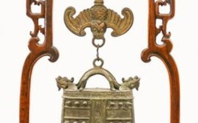 Chinese Qing Bronze Temple Bell on Rosewood Stand
