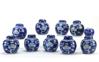 Chinese blue and white porcelain ginger jars hand painted wi...