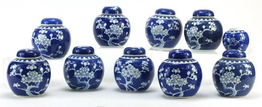 Chinese blue and white porcelain ginger jars hand