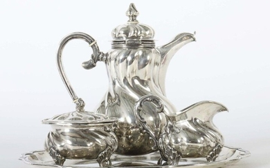 Coffee core on tray in baroque style, various manufactures, Germany, 20th century, silver 800, approx. 2062 g, 4 pcs. consisting of coffee pot, cream jug, sugar bowl and round tray, bellied corpi with curved folds, each supported by 4 short concave...