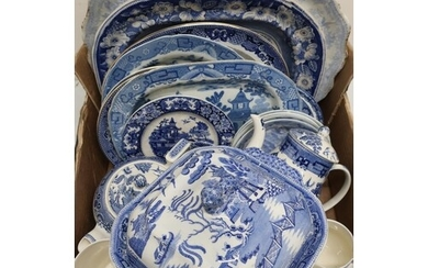 Collection of Victorian and later blue and white ceramics in...