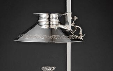 Continental Silvered Metal Bouillotte Lamp