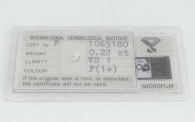 DIAMOND under seal. Weight 0.22 ct. Purity VS1 color F