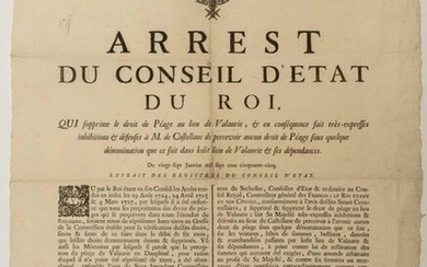 """DROM. 1755. VALAURIE TOLLGATE IN DAUPHINÉ. 1755. """"Judgment of the Conseil d'Etat du Roy, which abolishes the Toll Toll in lieu of VALAURIE, & consequently makes very-expressive inhibitions & defenses to Mr. de CASTELLANE to collect any Toll Toll under..."""