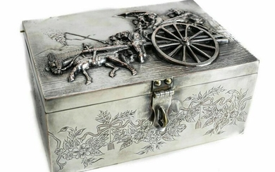 Dutch or German Silverplate Box Figural Scene, 19th C