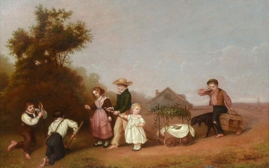 19TH CENTURY GENRE PAINTING ATTRIBUTED TO EUGENE LEJEUN
