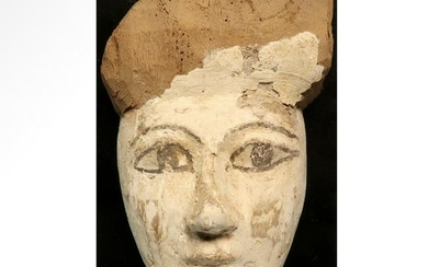 Egyptian Gesso-Painted Mummy Mask, c. 7th-3rd Century