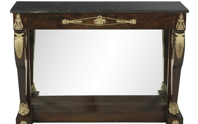 Empire-Style Mahogany and Marble-Top Pier Table