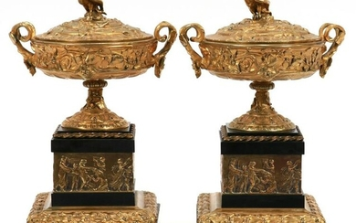FRENCH BRONZE & MARBLE MANTEL URNS, 19TH C, PAIR