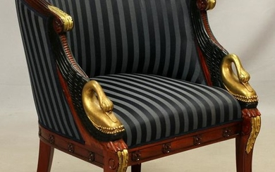 FRENCH EMPIRE STYLE MAHOGANY CHAIR SWAN TERMINALS
