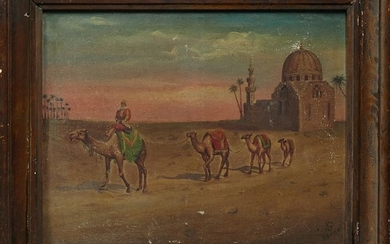 "Fouad, ""Desert Scene with Camels,"" 20th c., oil on"