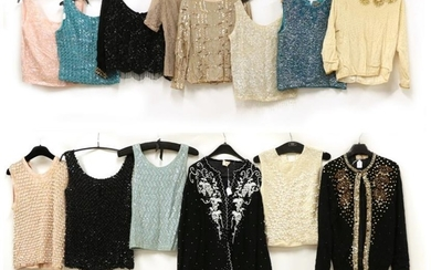 Fourteen Assorted Circa 1950's Cardigans and Shell Tops, comprising a...