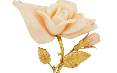 Gold and Carved Angel Skin Coral Rose Brooch