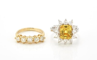 Gold and Diamond Ring and White Gold, Synthetic Yellow Sapphire and Diamond Ring