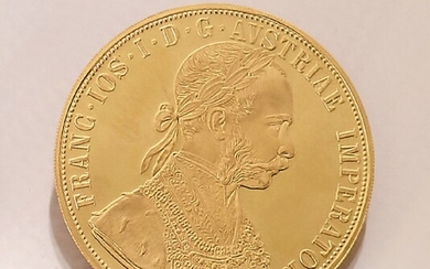 Gold coin 4 ducats , Austria/Hungary, 1915,...
