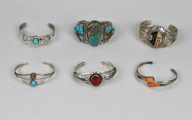 Group 6 Native American Sterling/Multistone Cuffs