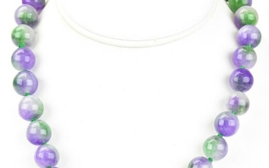 Hand Knotted 10mm Lavender & Green Jade Necklace