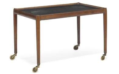Helge Vestergaard Jensen: Brazilian rosewood serving cart with raised edges, top covered with black Formica. Mounted on brass castors.