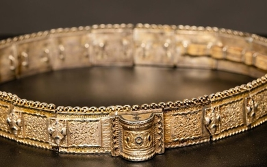 Impressive silver and niello Russian- Caucasian region marriage belt 19th century