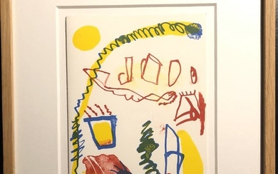 Jan Voss: Composition. Signed Voss 23/100. Lithograph in colours. Visible size 15.8×21.8 cm. Frame size 30.5×37.5 cm.