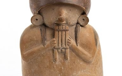 Jar in the shape of a Musician playing pan pipe,...