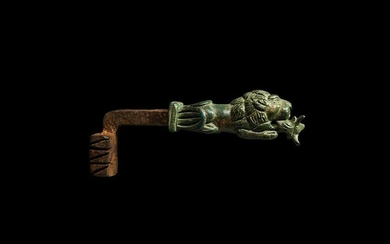 Large Roman Door Key with Lion and Calf Handle