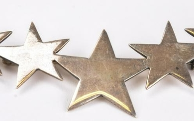Large Vintage Mexico Sterling Silver Star Brooch