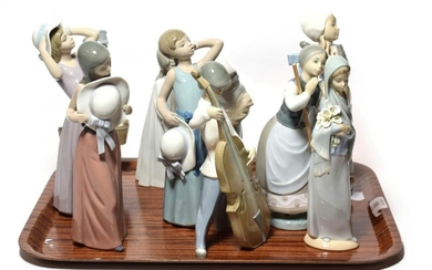 Lladro figures of women and girls, and a boy playing...