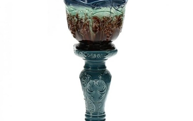 Majolica Jardiniere on Stand