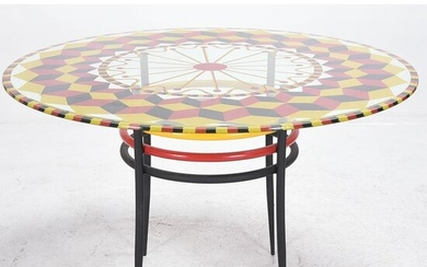 Matchstick and Cube Painted Glass Table Top on Tubular