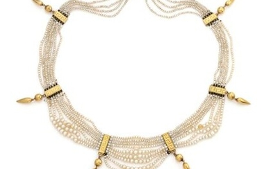 """Necklace composed of five, six and two rows of falling fine pearls punctuated by six elements in 18K (750/1000) yellow gold with Greek motifs and a yellow gold drop. The clasp has a ratchet and """"8"""" safety clasp."""