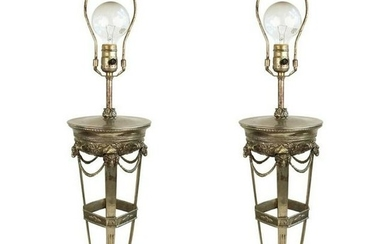 Neoclassical Style Metal Ram Head Table Lamps Pair