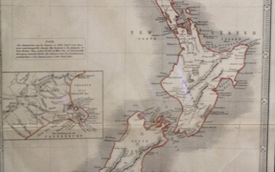 New Zealand with an inset of New Settlement of Canterbury Map