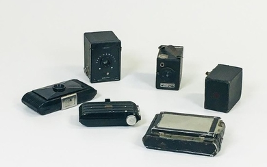 """Newman & Guardia """"Sibyl"""" and Five Other Small Cameras, Newman & Guardia """"Sibyl,"""" four Kodak cameras: a """"Baby Hawkeye,"""" a """"Bantam"""" 6.3"""