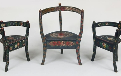 Norwegian painted country chairs