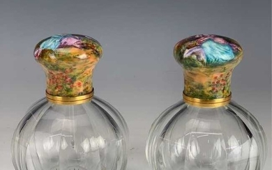 PAIR OF FRENCH BACCARAT GLASS AND ENAMEL PERFUME BOTTLE