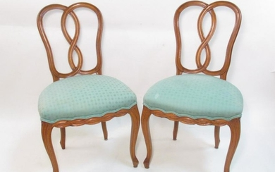 PAIR PETITE FRENCH CARVED CHERRYWOOD SIDE CHAIRS