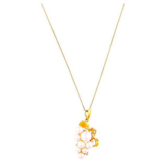 """PEARL DIAMOND GOLD NECKLACE""L43.8 cm, 40.0×19.7 mm, 8.8 g"