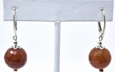 Pair Sterling Silver & Faceted Agate Ball Earrings