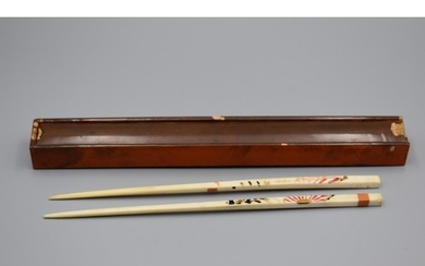 Pair of Antique Ivory Hand Painted Chopsticks in Case