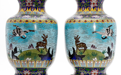 Pair of Chinese vases in cloisonné metal, circa 1970.
