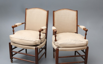 Pair of French Directory-style armchairs in beech, late 18th Century.