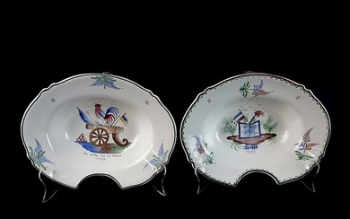 Pair of French Faience Ceramic Shaving Bowls