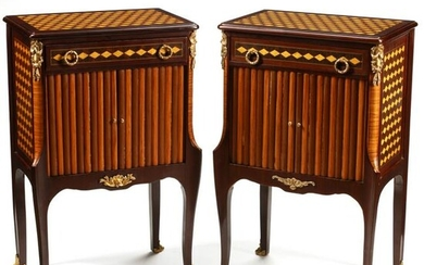 Pair of Louis XV Style Inlaid Nightstands with Bronze
