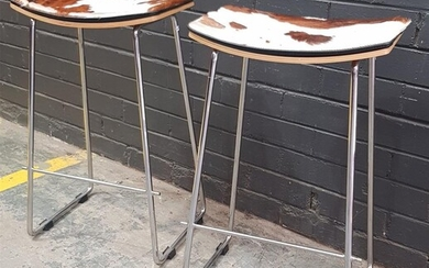 Pair of Modern Barstools with Cow Hide Top (h:70 x w:45 x d:32cm)